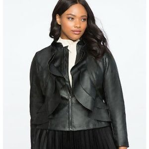 Eloquii Faux Leather Motto jacket